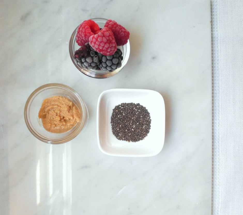Frozen berries, cashew butter, and chia seeds