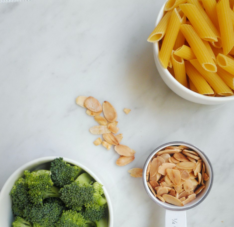 Dried pasta, almonds, and broccoli