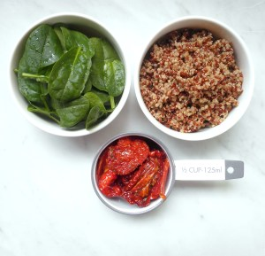 Spinach, quinoa, and sundried tomatoes