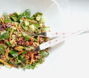 Serving Mediterranean Quinoa Salad