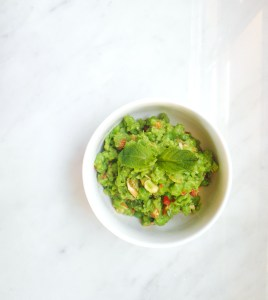 Smashed Peas with Almonds and Chilli