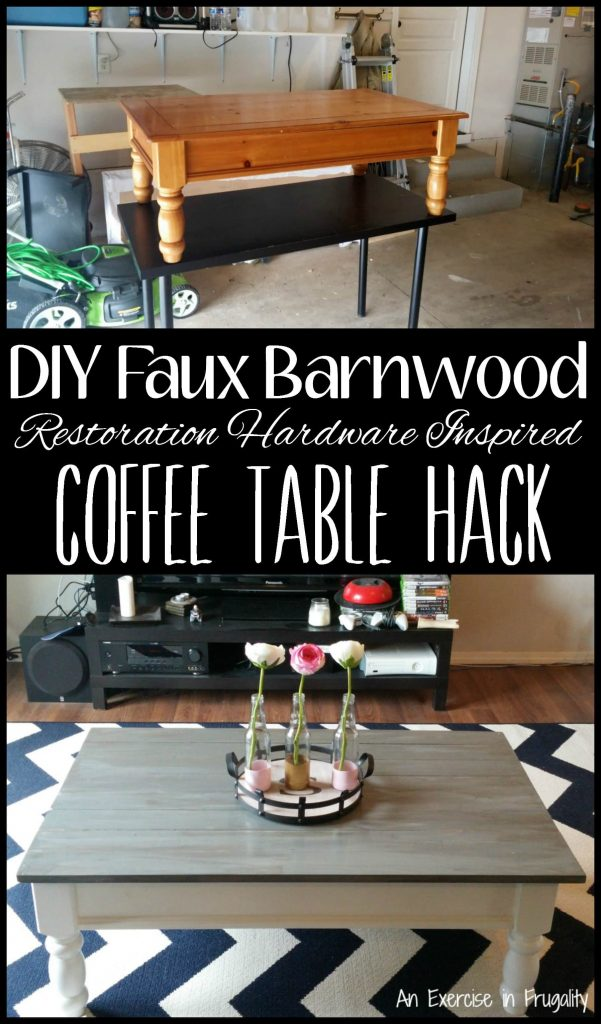 DIY Faux Barnwood Coffee Table Hack Turn an old, dated coffee table into a fresh new conversation piece for your living room! This was really simple to do, and totally changed the look of our decor. rustic | farm style | farmstyle | Restoration Hardware | inspired | DIY | hack | sofa | barn wood |
