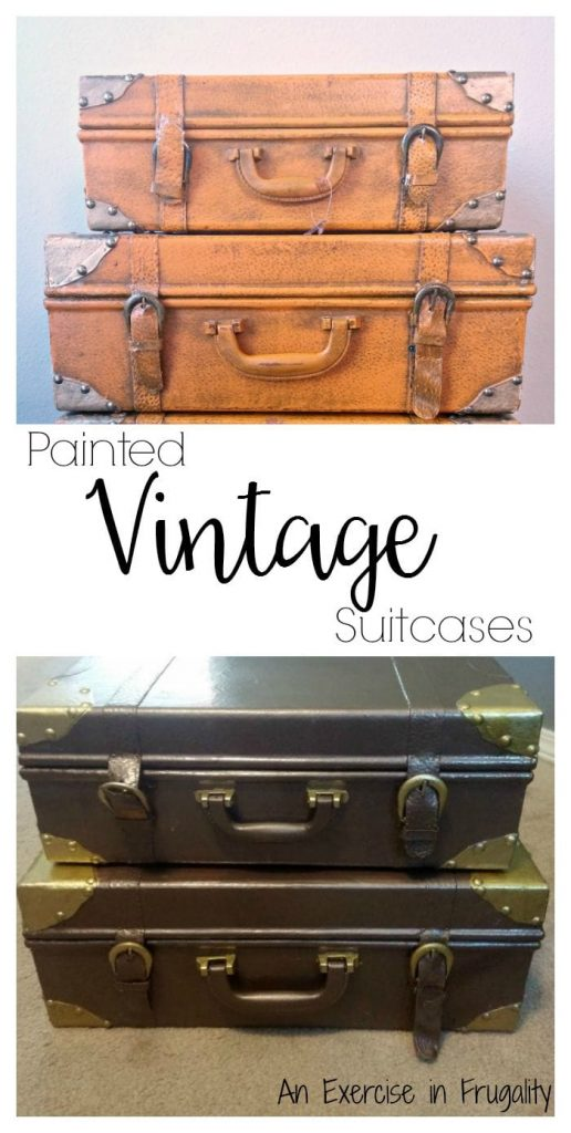 painted vintage suitcases