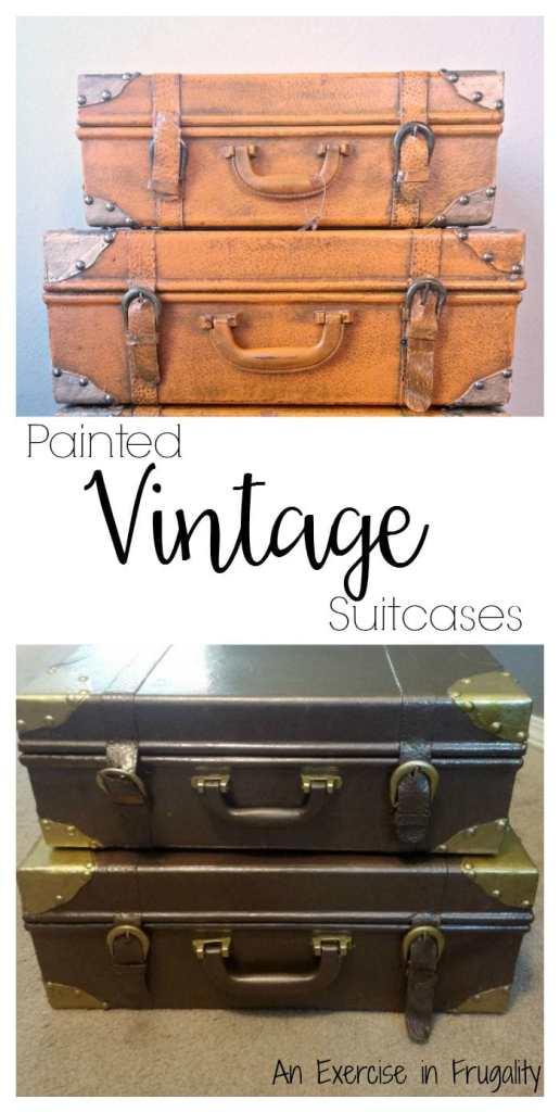 painted vintage suitcases