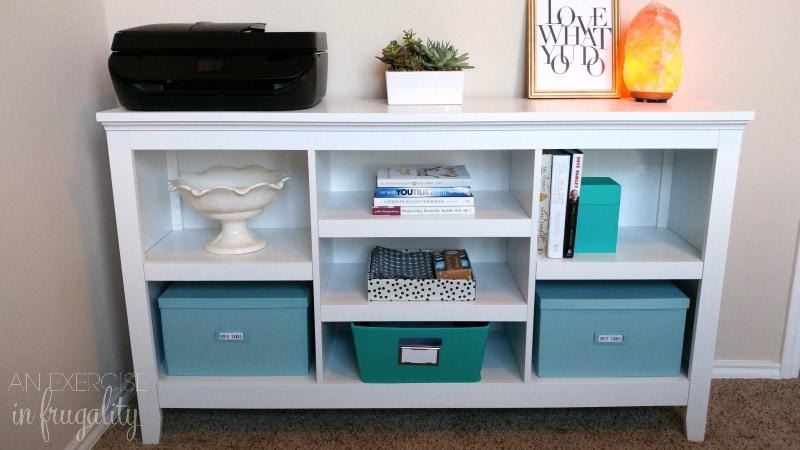Refresh your office and your tech like a boss! This home office reveal shares my organizing tips for your workspace and your technology. Come see a sneak peek of what a blogger's office looks like, as well as some tips for organizing office and crafting supplies AND a free inspirational wall art printable for your vision board! #LoveYourPC ad