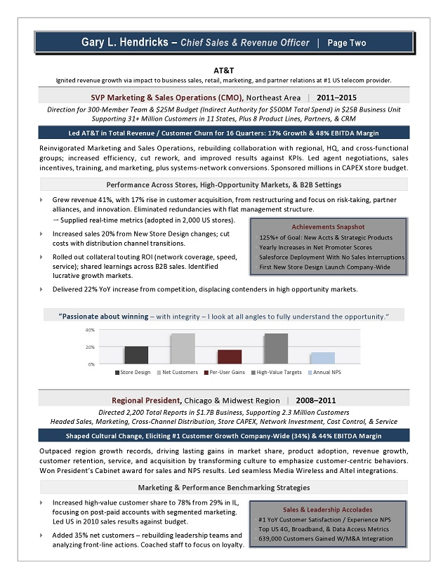 Chief Revenue Officer Resume Sample Page 2