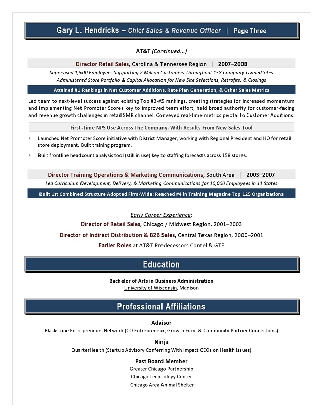 Chief Revenue Officer Resume Sample Page 3