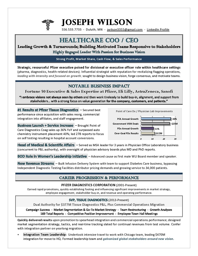 Healthcare CEO & COO Sample Resume