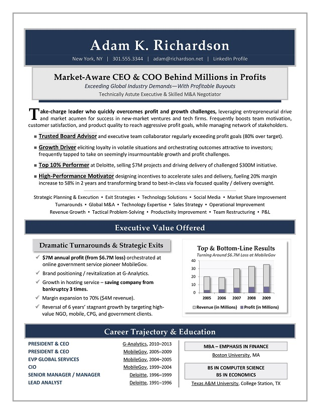 CEO & President Sample Resume
