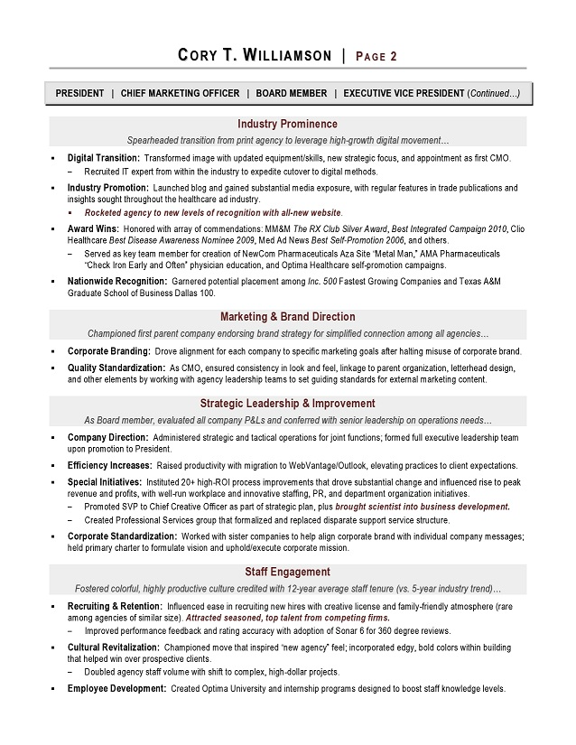 CMO Resume Sample Page 2