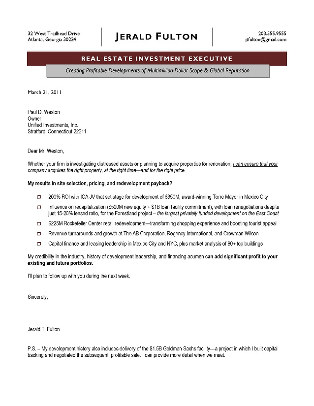 Real Estate Executive Cover Letter Sample