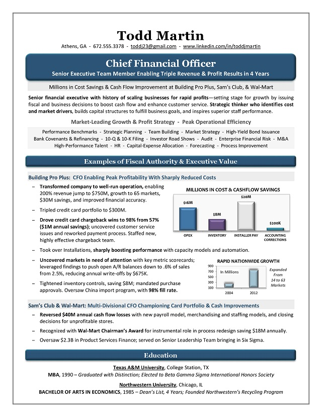 Award Winning CFO Resume Sample Page 1