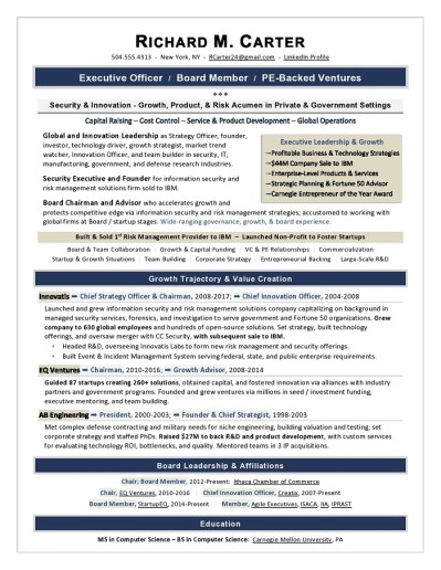 Board Executive Resume