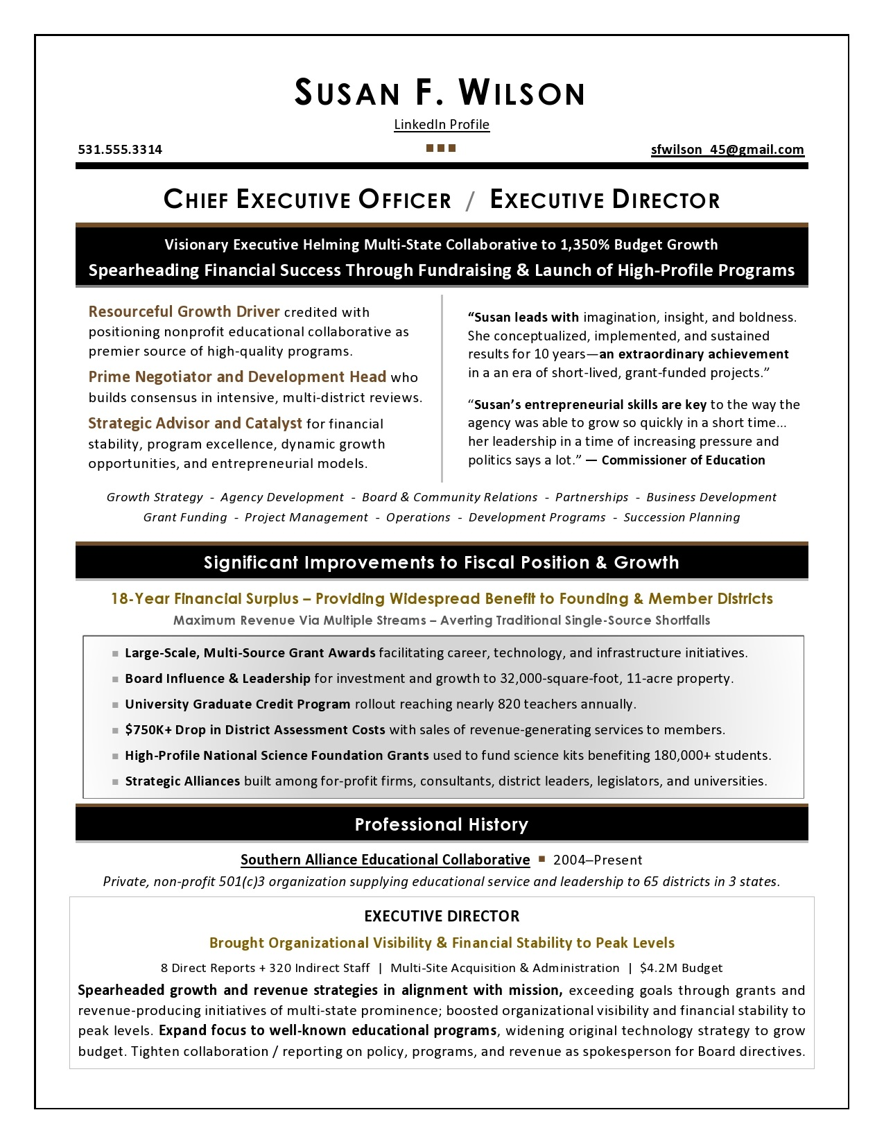 Professional Or Executive Resume Whats The Difference >> Executive Resume Samples By Award Winning Writer Laura Smith Proulx