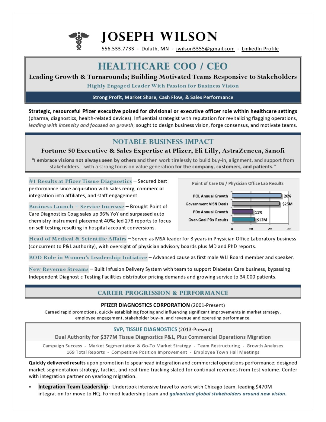 Healthcare CEO & COO Resume Sample Page 1