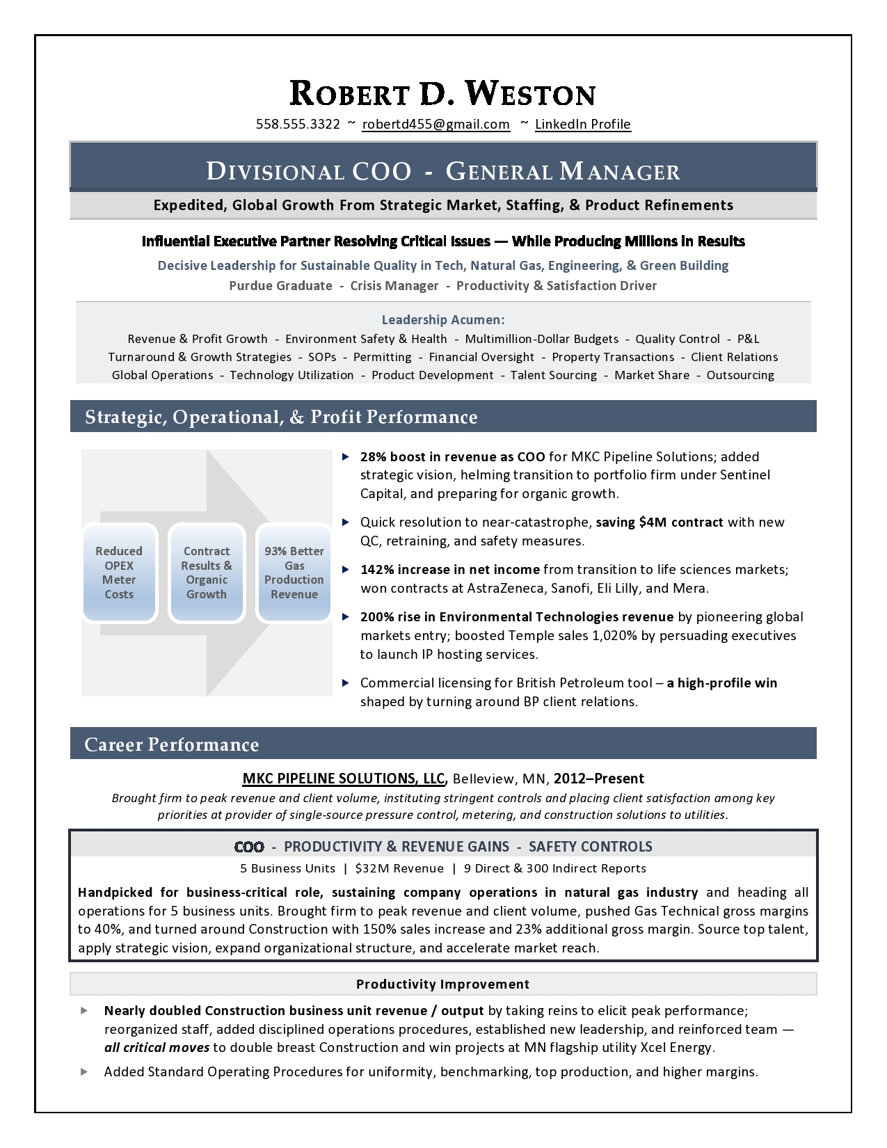 COO resume by executive resume writer