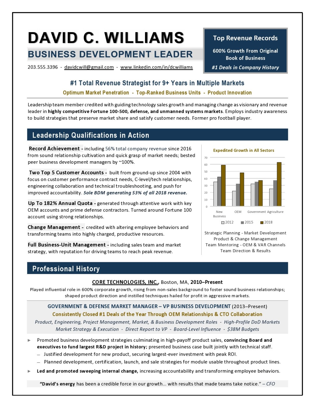 CEO Resume Sample Page 1