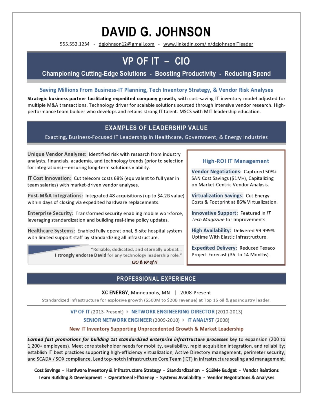 VP of IT Resume Sample Page 1