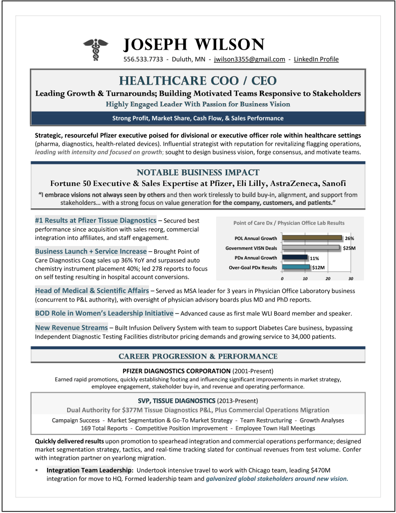 Healthcare CEO & COO Resume by Laura Smith-Proulx