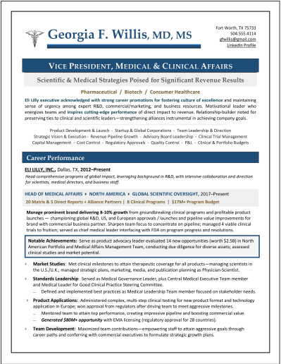 Medical Affairs Resume by Laura Smith-Proulx