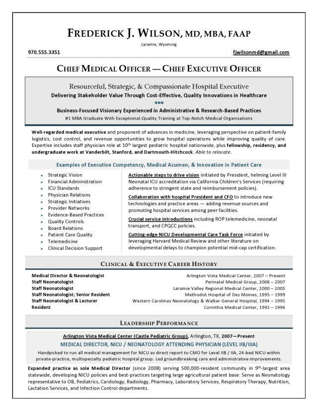 Award-winning Chief Medical Officer resume sample by Laura Smith-Proulx