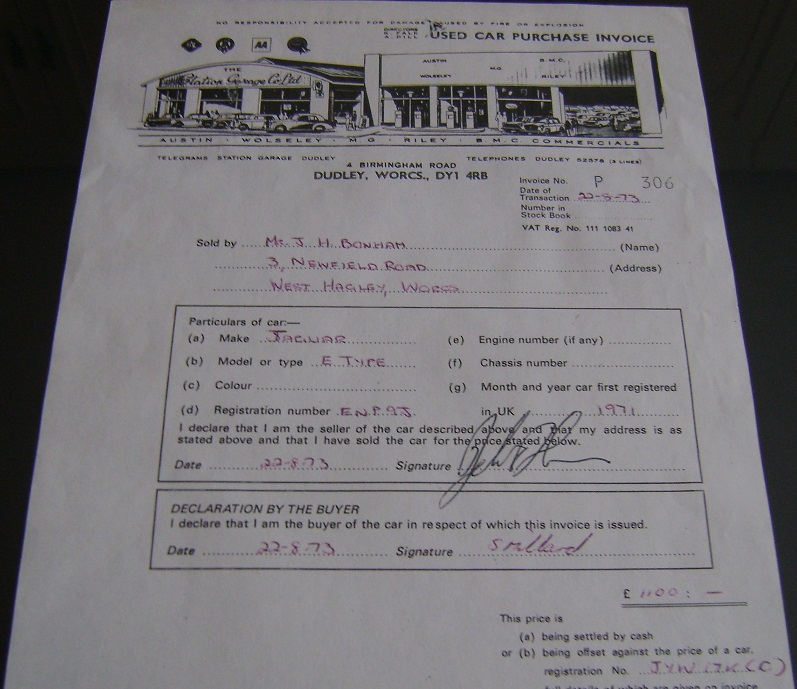 John Bonham Used Car Invoice For A Jaguar E Type Automobile     John Bonham loved cars  and had quite the car collection  On August 22   1973 John sold a Jaguar E Type automobile  This purchase invoice receipt  was