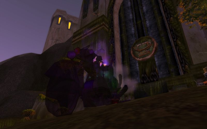 shadow priest on motorcycle in front of old Grim Batol