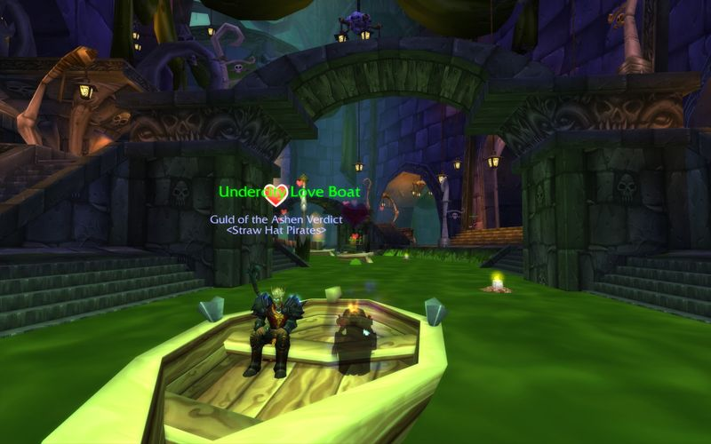 death knight and undead shadow priest enjoying a Love Boatr cruis through Undercity's sewers