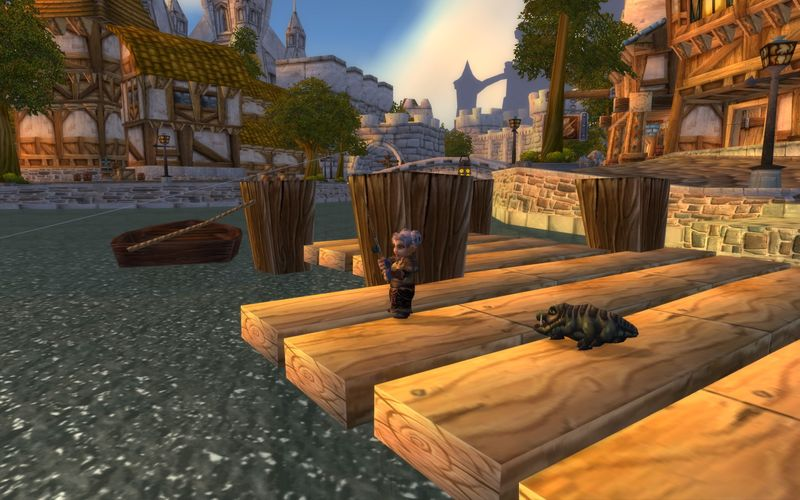 gnome fisherwoman on the Stormwind canals fishing pier