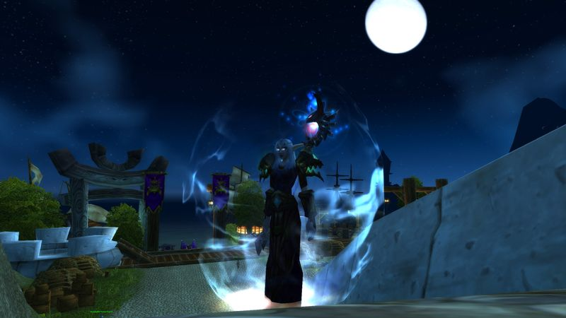 Night elf druid Psychcoandy under the SW moon awaiting the shattering