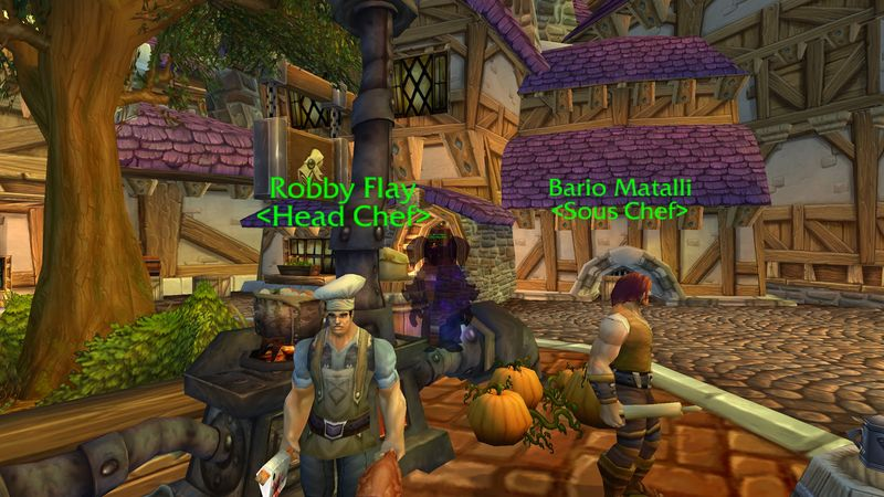gnome shadow priest gains cooking tips from Robby Flay and Barrio Matalli in Stormwind