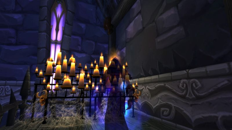 Forsaken shadow priest Anexxia checking out a remodeled house in Brill