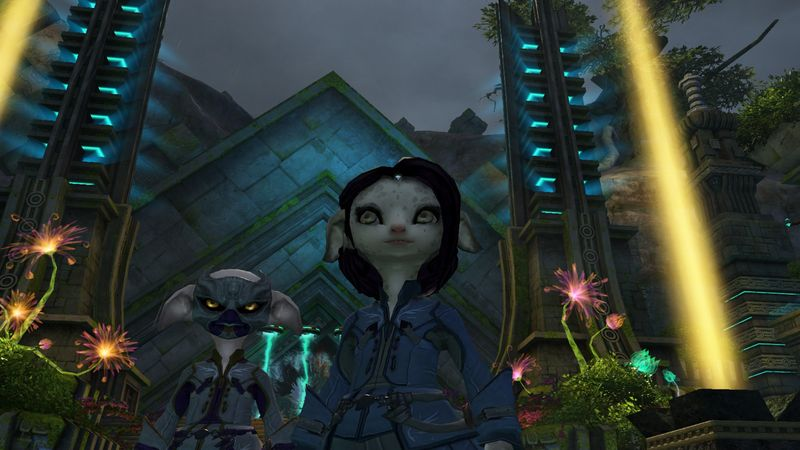 Wrenz and I exploring scenic vistas in Guild Wars 2