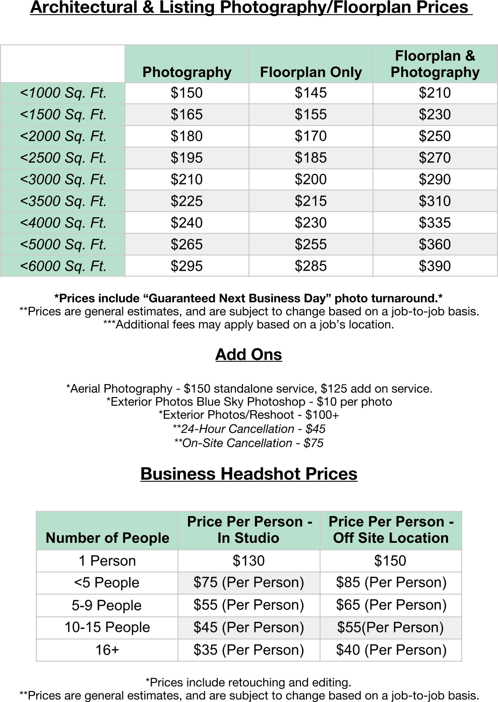 Pricing – Anfuso Imaging