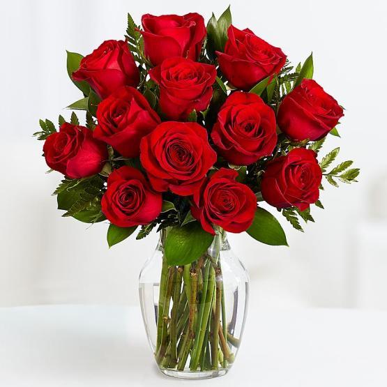 11 Длинных Красных Роз с Зеленью
