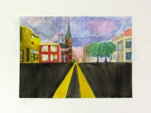 One point perspective watercolor