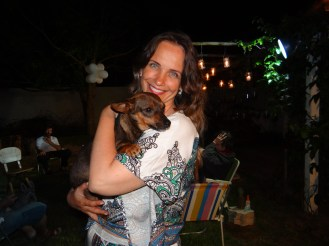 O nosso cãozinho Yoda e eu na festa de Ano Novo ®SKLindemann