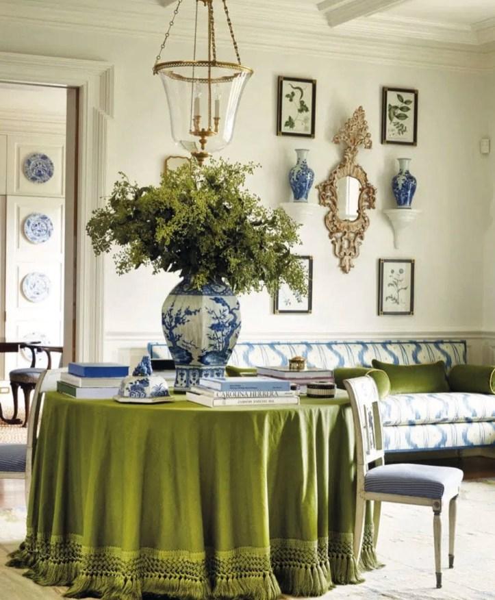 Sarah Bartholomew green skirted table