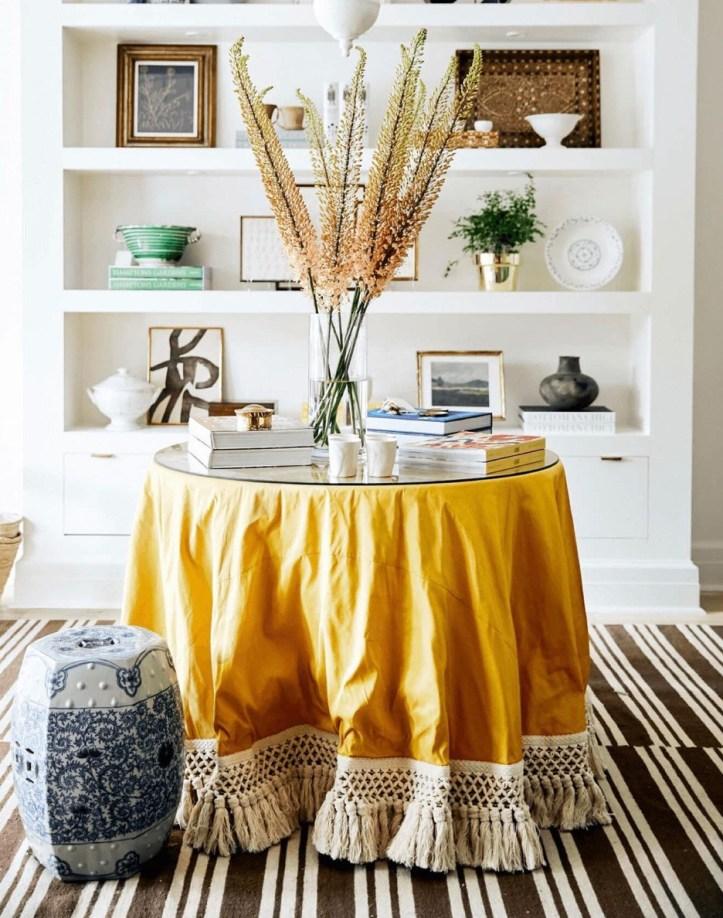 Sarah Bartholomew yellow skirted table