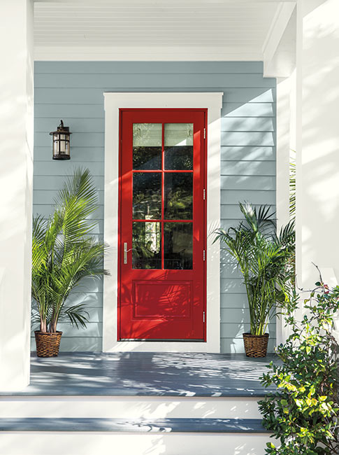 Blue house red front door color
