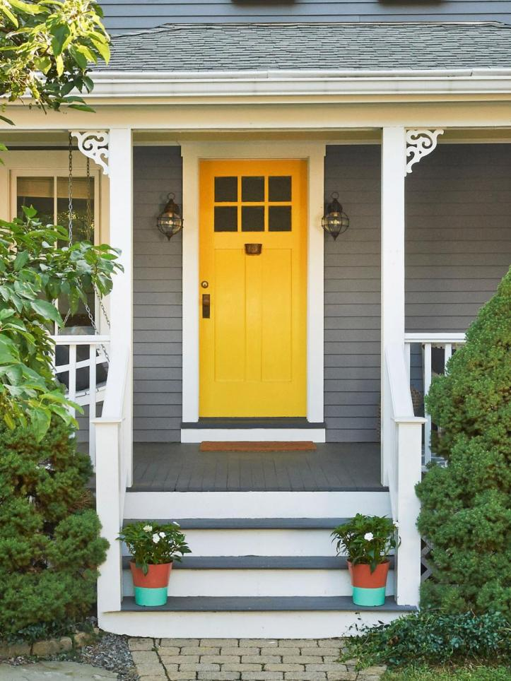 Gray house front door color