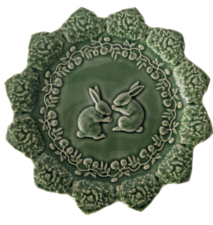Green bunny plate