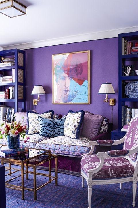 Purple analogous color living room