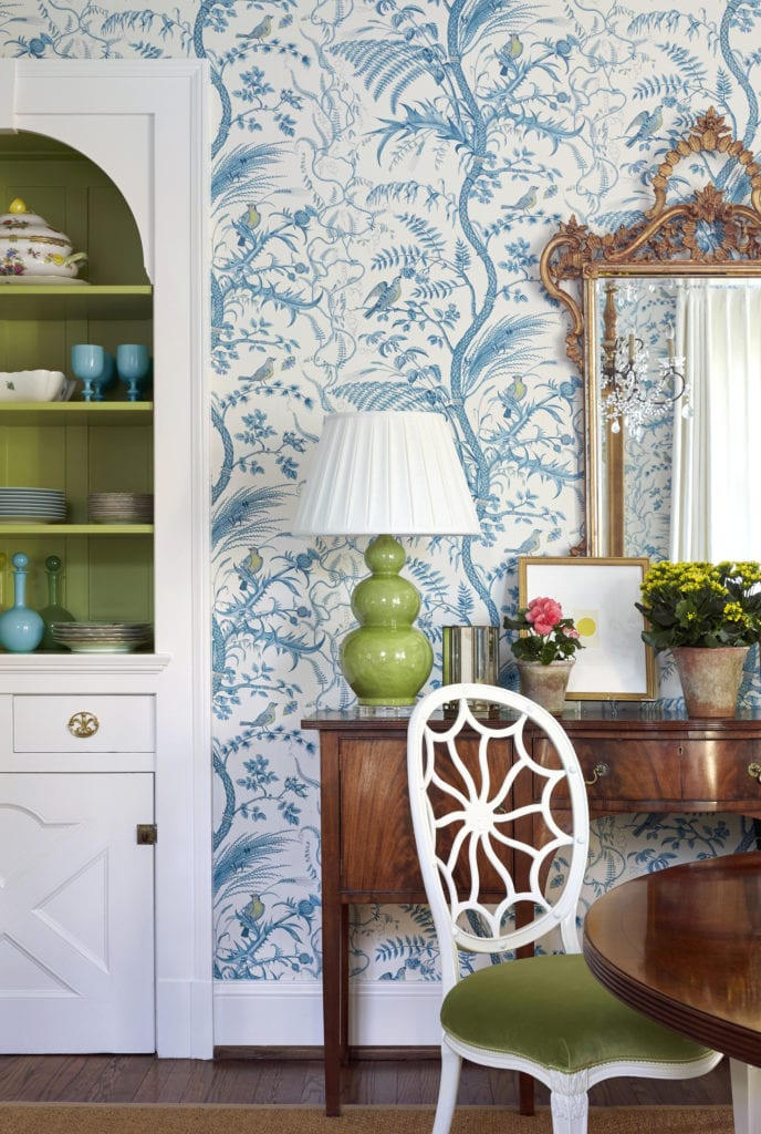 Sarah Bartholomew bird and thistle wallpaper