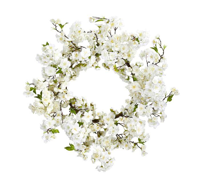 Faux cherry blossom wreath