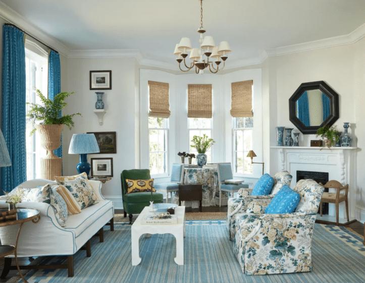 Sarah Bartholomew grandmillennial blue living room