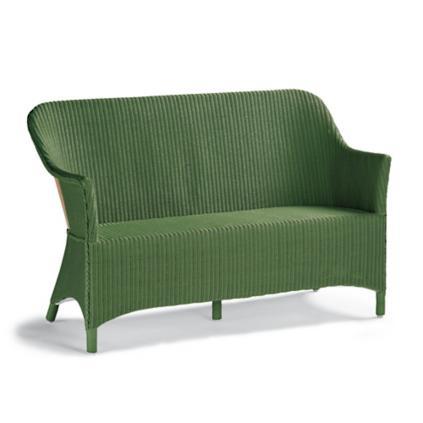 Green wicker bench