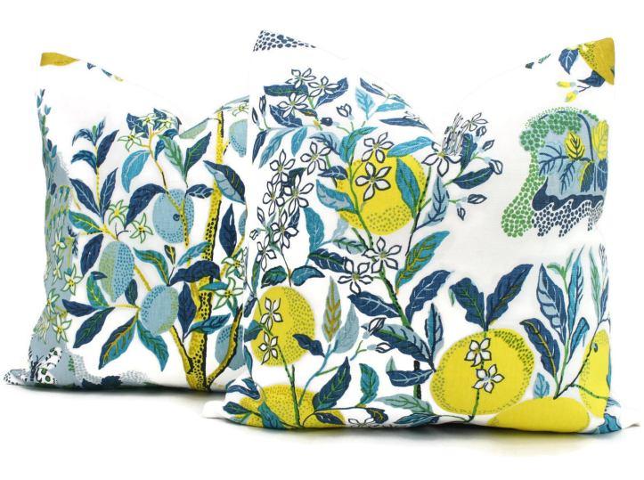 Citrus Garden pillows in Pool