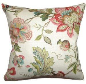 Pink and green Jacobean pillow