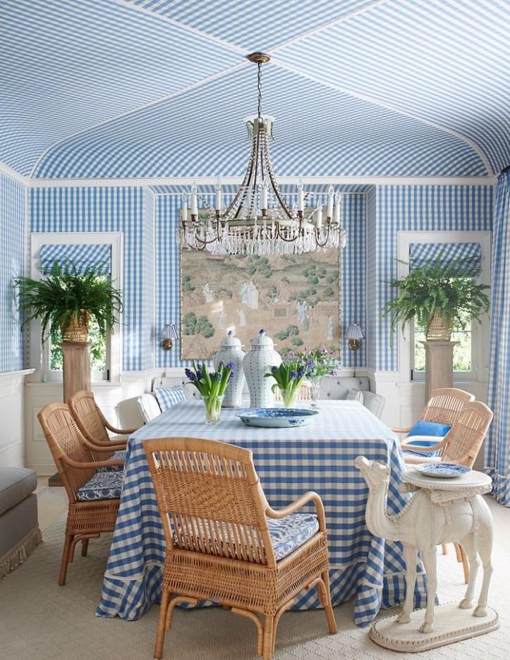 Mark D Sikes blue gingham grandmillennial dining room